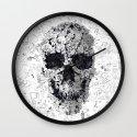 Doodle Skull BW Wall Clock