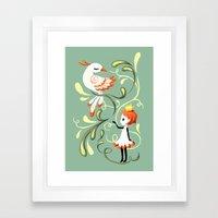 Princess and a Bird Framed Art Print