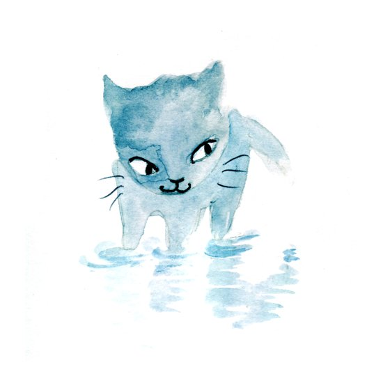 Puddle Kitten Art Print