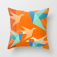 Orange Paper Cranes Throw Pillow