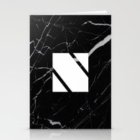 Black Marble - Alphabet N Stationery Cards