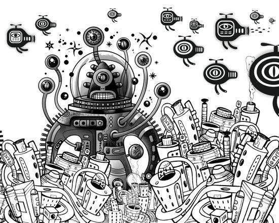 Alien in mecanic jungle Art Print