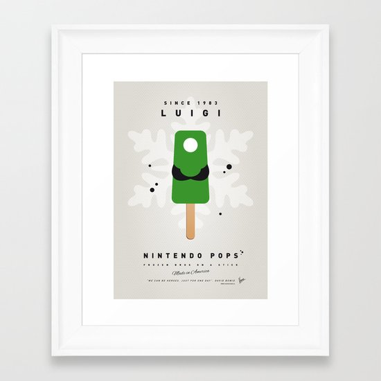My NINTENDO ICE POP - Luigi Framed Art Print