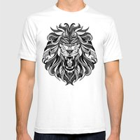 Angry Lion - Drawing Mens Fitted Tee White SMALL