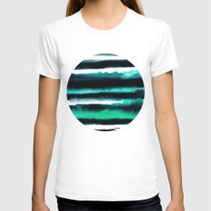Abstract green and black painting Womens Fitted Tee White SMALL