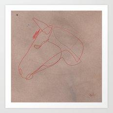 One line Horse 12 Art Print