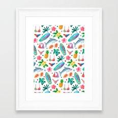 Dotty Summer Beach Pattern Framed Art Print