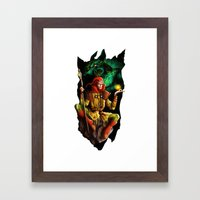 A wizard in the dark Framed Art Print