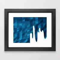 Polygon Drip Blue Framed Art Print