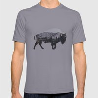 The American Bison Mens Fitted Tee Slate SMALL