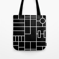 PS Grid Black Tote Bag