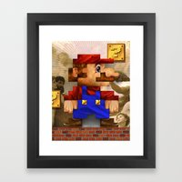 Super Mario Pixelated Realism Framed Art Print