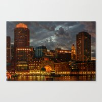 Night at Boston Harbor Canvas Print