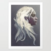 hair Art Prints featuring Mother of Dragons by Artgerm™