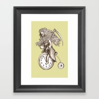 Father Time on a Penny Farthing Framed Art Print