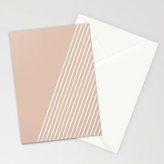 White & Pink Stripes Stationery Cards