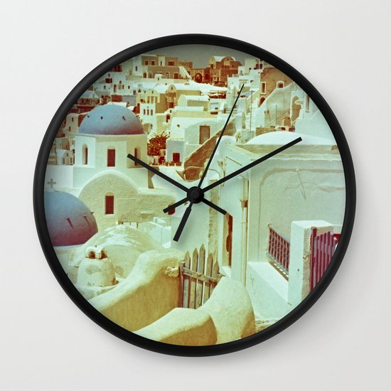 Santorini in Raspberry and Blue II: shot using Revolog 600nm special effects film Wall Clock