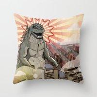 Godzilla!!! Throw Pillow