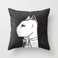 Family Portrait Cat Throw Pillow