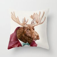 Moose in Maroon Throw Pillow