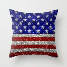 Glitter Sparkle American Flag Pattern Throw Pillow