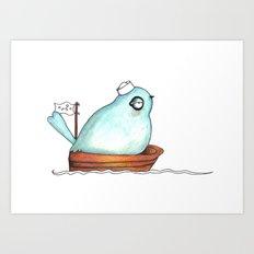 Little Sailor blue Art Print