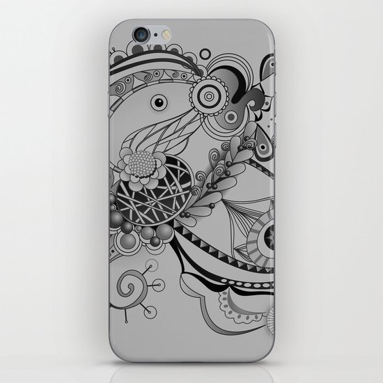 Ornate spring tangle, charcoal grey iPhone & iPod Skin