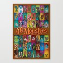48 Monsters Canvas Print