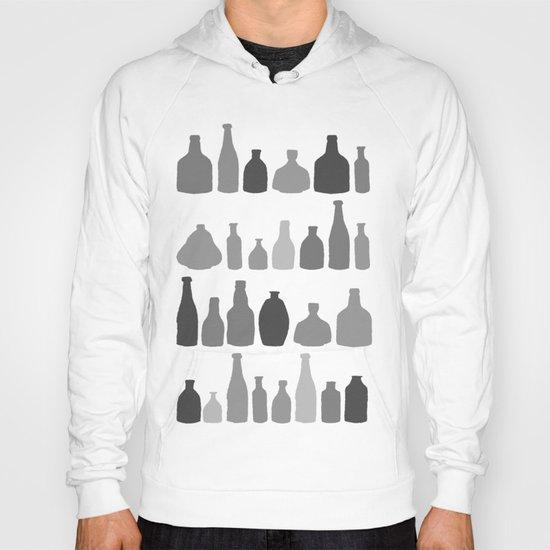 Bottles Black and White on Black Hoody