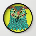 owl - Lime green Wall Clock