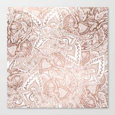 Chic hand drawn rose gold floral mandala pattern Canvas Print