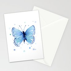 Butterfly Blue Watercolor Butterflies Stationery Cards