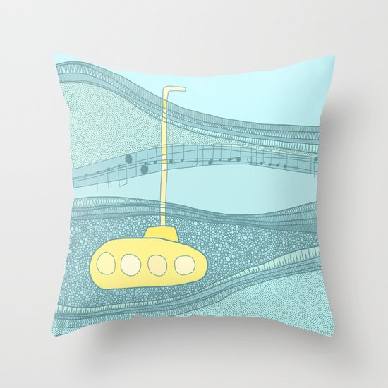 Yellow Submarine Throw Pillow