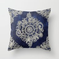 Cream Floral Moroccan Pa… Throw Pillow