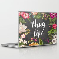 watercolor Laptop & iPad Skins featuring Thug Life by Text Guy