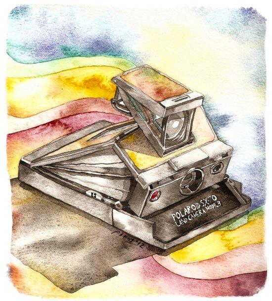 Vintage gadget series: Polaroid SX-70 Model 3 Land Camera Art Print