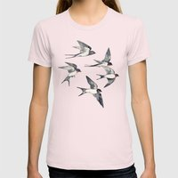 Blue Sky Swallow Flight Womens Fitted Tee Light Pink SMALL
