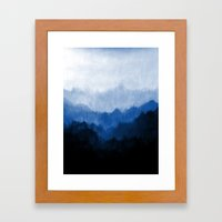 Mists - Blue Framed Art Print