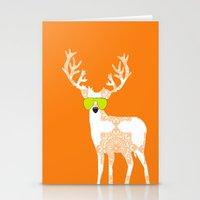 Orange reindeer art Stationery Cards