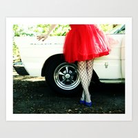 A Girl And Her Car Art Print