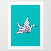 Swan, Navy Lines On Turq… Art Print