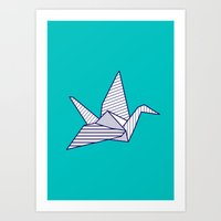 Swan, navy lines on turquoise Art Print
