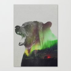 Bear In The Aurora Borea… Canvas Print
