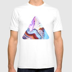 Agate, a vivid Metamorphic rock on Fire SMALL Mens Fitted Tee White