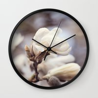 Magnolia Flower Wall Clock