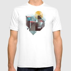 Over mountains SMALL Mens Fitted Tee White