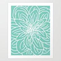 Abstract Flower Mint Green Art Print
