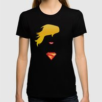 SUPERGIRL Womens Fitted Tee Black SMALL