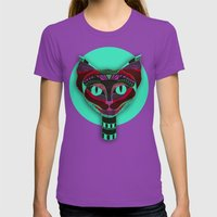 Black CAT- Black Womens Fitted Tee Ultraviolet SMALL