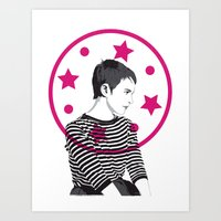 Jean Seberg//Black & White Art Print